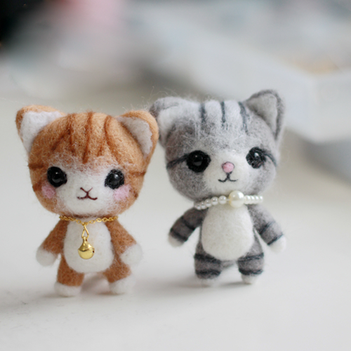 Handmade Needle felted felting project animal cute cat kitten felted wool doll