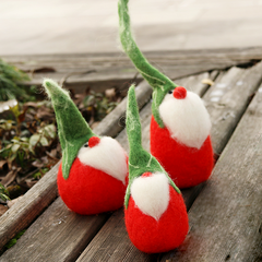 Handmade Needle felted felting project animal cute Christmas Santa gnome garden felted wool doll