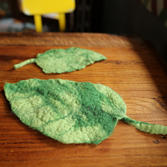 Handmade wet felted felting cute leaf coaster felted home decor