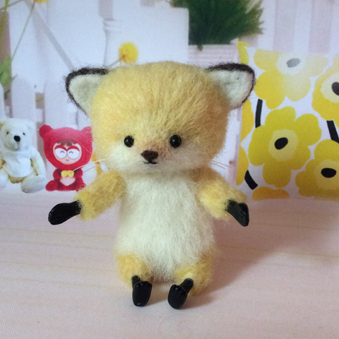 Handmade needle felted felting project cute animal project fox felt doll