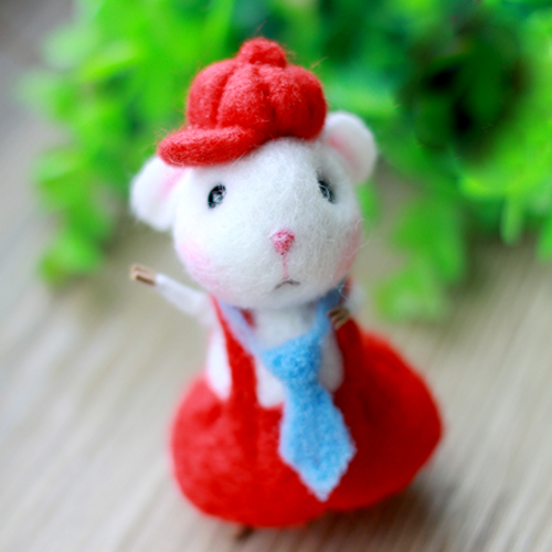 Handmade Needle felted felting project animal cute mouse mice red Dress felted wool doll