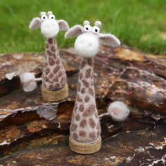 Handmade Needle felted felting project cute animal giraffe ornament felted doll