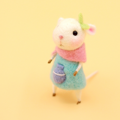 Handmade Needle felted felting project animal constellation cute mouse mice aquarius felted wool doll