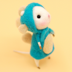 Handmade Needle felted felting project animal constellation cute mouse mice Pisces felted wool doll