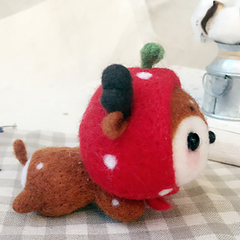 Handmade needle felted felting cute animal project deer felted doll toy