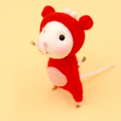 Handmade Needle felted felting project animal constellation cute mouse mice Cancer felted wool doll