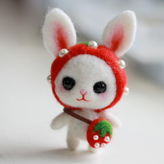 Handmade Needle felted felting project animal cute white bunny rabbit felted wool doll