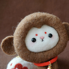 Handmade needle felted felting cute animal project monkey felt doll