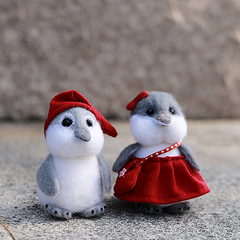 Handmade Needle felted felting project christmas ornament penguins couples bird felted doll