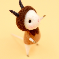 Handmade Needle felted felting project animal constellation cute mouse mice Capricornus felted wool doll