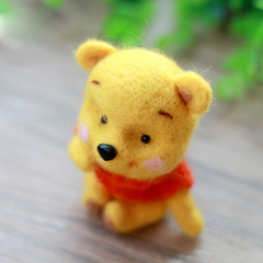 Handmade Needle felted felting project animal cute bear Pooh Winnie felted wool doll