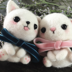 Handmade needle felted felting cute animal project cat dog felt doll