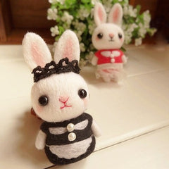 Handmade Needle felted felting project animal cute dress bunny rabbit felted wool doll