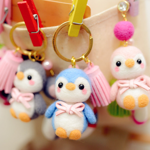 Handmade Needle felted felting project animal cute penguins keychain felted wool doll