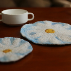 Handmade wet felted felting cute round flower blue coaster felted home decor