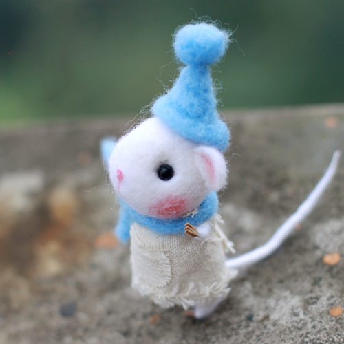Artist Needle Felted Cute Cat And Mouse Bears