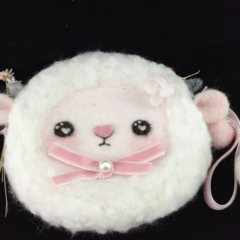 Handmade needle felted felting project cute animal sheep coin wallet