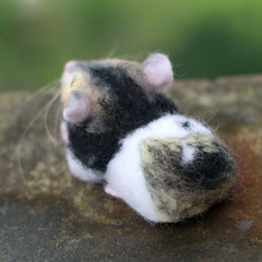 Handmade Needle felted felting animal project cute cavy mouse felted wool doll
