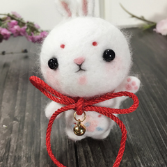 Handmade needle felted felting cute animal project bear bunny doll