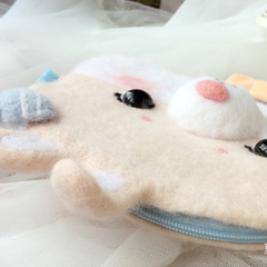Handmade needle felted felting cute animal project bunny coin wallet shoulder bag