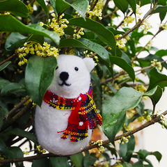 Handmade Needle felted felting project christmas ornament polar bear felted doll