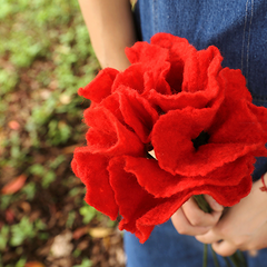 Handmade wet felted felting project cute flower red felted home decor