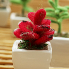 Handmade wet felted felting cute flower potted felted home decor