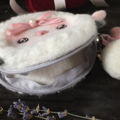 Handmade needle felted felting cute animal project sheep coin wallet