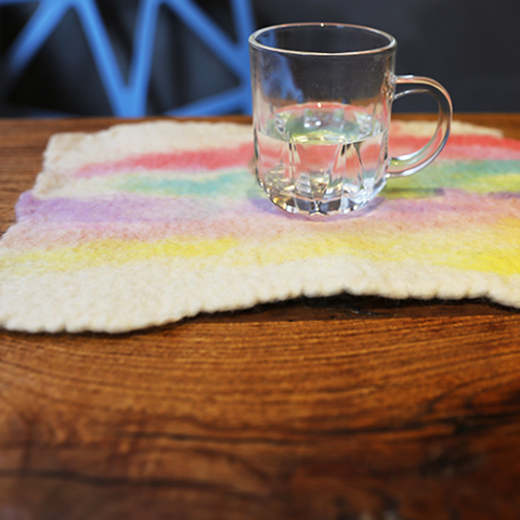 Handmade wet felted felting cute rainbow round coaster felted home decor