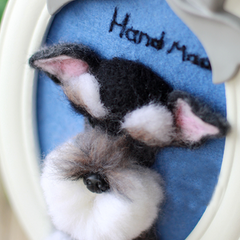 Handmade Needle felted felting project animal cute dog poodle portrait felted wool doll