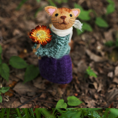 Handmade needle felted felting project cute cat lady felted home decor