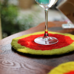 Handmade wet felted felting cute round leaf coaster felted home decor