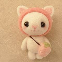 Handmade Needle felted felting project animal cute cat kitty strawberry felted wool doll