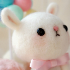 Handmade needle felted felting project cute animal project bunny rabbit felt doll