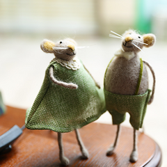 Handmade wet felted felting project cute oranment mice couples felted home decor