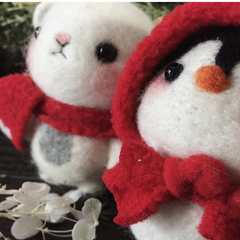 Handmade needle felted felting cute animal project bear penguin felt doll