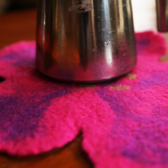 Handmade wet felted felting cute flower round coaster felted home decor