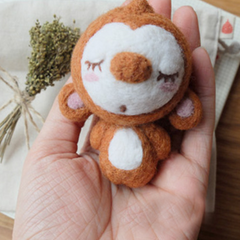 Handmade Needle felted felting project animal cute Christmas snowman Monkey felted wool doll
