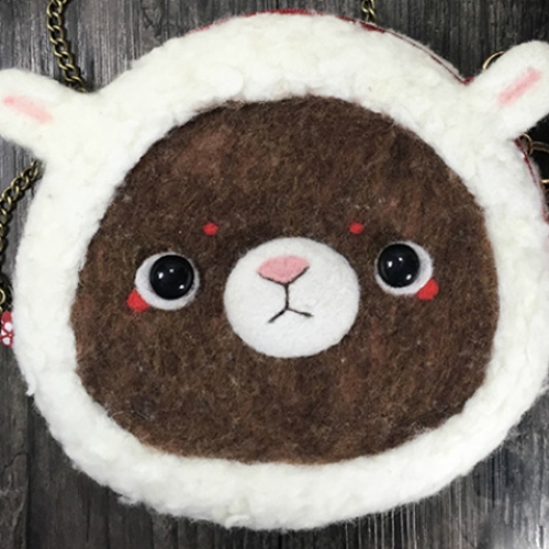 Handmade needle felted felting cute animal project bear bunny coin wallet