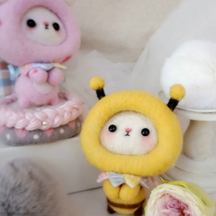 Handmade needle felted felting project cute animal bee dinosaur felt doll