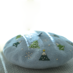 Handmade felted needle felted Christmas blue Christmas tree wool Hat beret winter hat