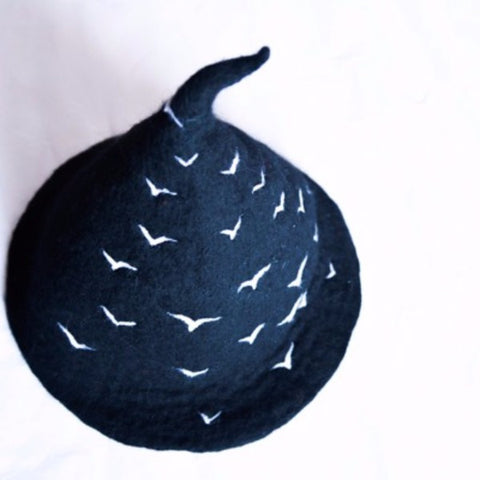 Handmade felted needle felted Black gooses witch wool Hat Halloween costume witch costume