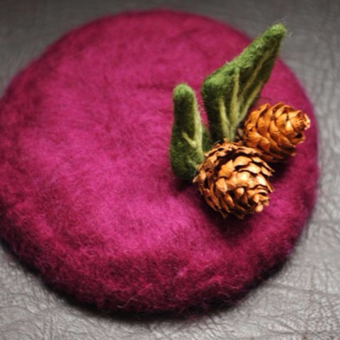 Handmade felted needle felted purple Little Acorn wool hat hair clip hair accessories