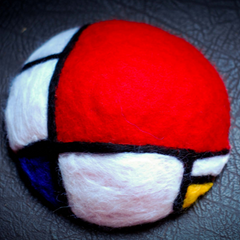 Handmade felted needle felted Mondrian wool hat hair clip hair accessories