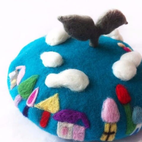 Handmade felted needle felted blue THE BIG BLUE wool Hat beret winter hat