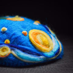 Handmade felted needle felted van Gogh blue The Starry Night wool Hat beret winter hat