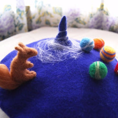 Handmade felted needle felted blue little universe wool Hat beret winter hat