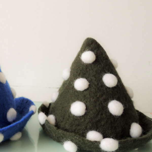 Handmade felted needle felted blue spotted witch wool Hat Halloween costume witch costume