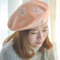 Handmade felted needle felted cat's claws pink wool Hat beret winter hat