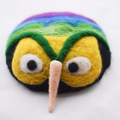 Handmade felted needle felted colorful owl wool hat hair clip hair accessories